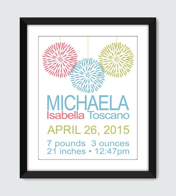 Decor Flower Birth Announcement Wall Art - 8x10 Baby Children Nursery Custom Wall Print Poster