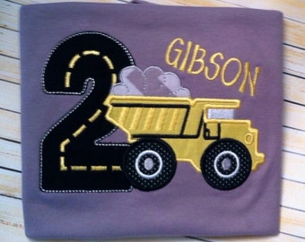 Boys Birthday Construction  Dump Truck Applique Shirt Personalized Any Birthday Number