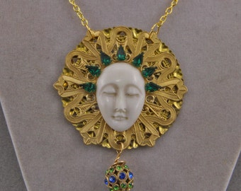 Hand Made Crowned in Jewels Bone Face Necklace Gaia Goddess Jewelry