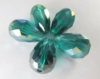 6 Emerald Green 14 x 10mm Faceted Teardrop Chinese Crystal Jewelry beads drilled end to end