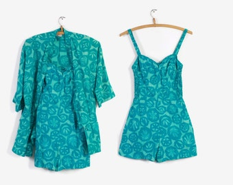 50s KAHALA Hawaiian PLAYSUIT & Cover-Up / 1950s Swimsuit with Matching Shirt Jacket xs - s