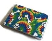 Card Case Mini Wallet Tie Dye Dog Bones & Paws