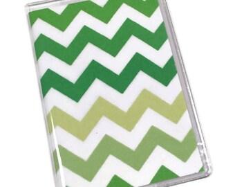 Passport Cover Green Ombre Chevron
