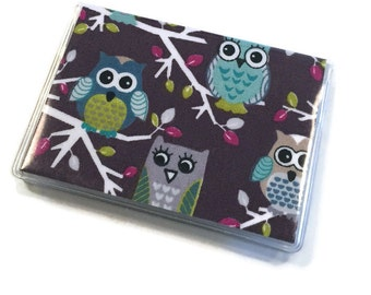 Card Case Mini Wallet Owls on a Branch