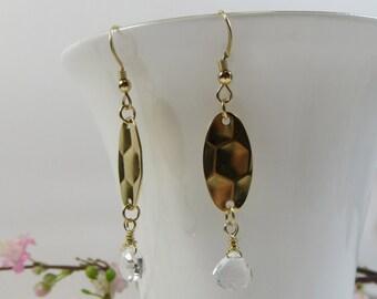 Rock Crystal Earrings w Shiny Golden Ovals, Moonshine Earrings, Faceted Rock Crystal Earrings, Wirewrap Earrings, Rock Crystal Earrings