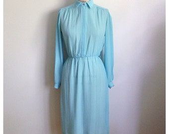 Vintage 1980s Baby blue SECRETARY dress