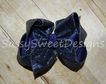 SSD Solid Navy Blue Glitter Boutique Hairbow Sassy Sweet Designs Custom