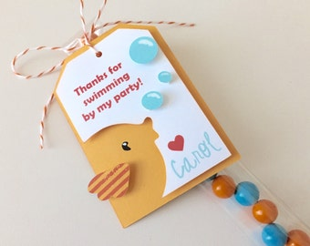 Fish party favor tags, fish birthday party, ocean, goldfish themed party, set of 12