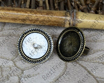 6pcs Antique Bronze Filigree Open RING,Lacework Base Round Base Cabochon Size 20mm,Blank Ring Fingdings,jewelry findings