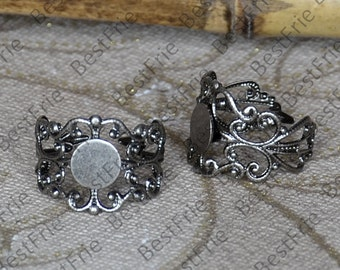 10pcs Antique Silver Pad Adjustable RING Base,ring pad bead,ring base findings