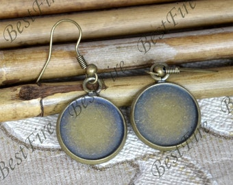 2pairs 12-25mm Antiqued brass Earwires Hook With Round Cabochon Pad,Flower Earrings hook,earrings finding base