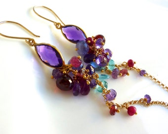 Amethyst Bezel Marquis and Gemstone Cascade Cluster Earrings in Gold Fill.