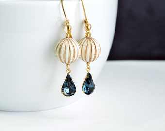 Montana Blue Teardrop Round Dangle Earrings Gold Accent Beads