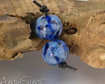 Silvered Blue Round Pair Handmade Lampwork Beads SRA S0123