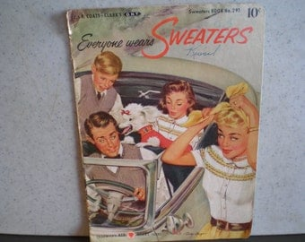 Vintage Mid CenturyChadwick's Red Heart Yarn Knitting Book - Everyone Wears Sweaters, No. 291