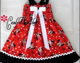 Minnie Mouse dress, Minnie Mouse printed red dress, Girls Minnie Mouse inspired dress, Baby Minnie Mouse inspired dress, Easter d