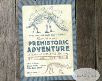 Prehistoric Dinosaur Invitations | Vintage Dinosaurs, Stegosaurus, triceratops, Excavation, Dig, Fossils, Dino Party | INSTANT DOWNLOAD