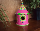 Bright Pink Round Birdhouse/ Handpainted/ Floral Designs Bright Colors/ Yellow/Light Green/Purple/ Rope Attached