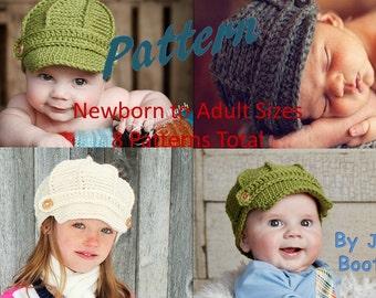 NEW! PDF Newsboy Hat Pattern Newborn to Adult Sizes - Newsboy Hat Pattern to Adult Sizes -Crochet Newsboy Hat -  by JoJosBootique