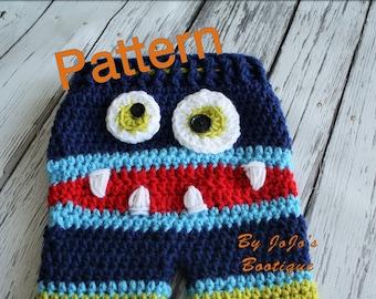 PATTERN - Crochet Monster Baby Pants PATTERN  - Baby Monster Pants - PDF Sock Monster Pants - Baby Pants Pattern - by JoJo's Bootique