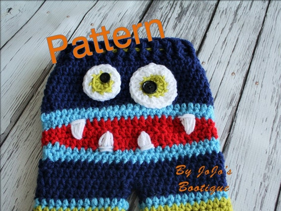 Crochet Pattern Baby Monster Pants : PATTERN Crochet Monster Baby Pants PATTERN Baby Monster
