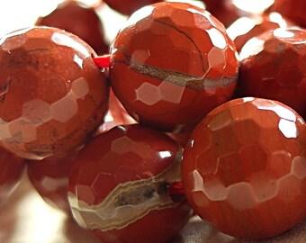 12mm Faceted Red Jasper round Stone Beads, full strand 15.5""