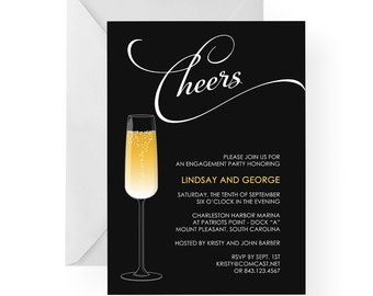 Champagne Engagement Party Invitation, Rehearsal Dinner, Anniversary Party Invitation, New Years Eve, Cocktail Party, Birthday (Cheers)