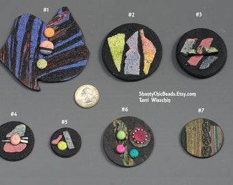 Abstract Organic Funky Poly Clay Pendants - Pick one or more