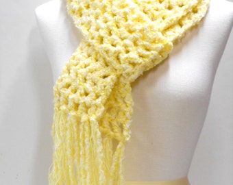 Chunky Yellow Scarf, Long Crocheted Scarf, Fringed Scarves, Womens Accessories