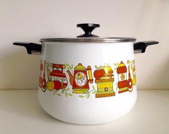 Large Retro 70's Enamel Pot