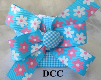 Dog Collar Blue Turquoise checkered w Pink White Flower Ribbon Bow Adjustable D Ring  Choose Size Accessories Accessory Pet Pets