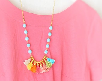 Fringe Necklace - Bohemian Tassel Necklace - Tribal Color Block Necklace - Bohemian Jewelry - Free Shipping