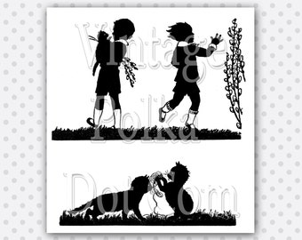 Clip Art Vintage Silhouette Kittens Playing Pussy Willows Collage Clipart Spring Printable Digital Nature Silhouettes Instant Download