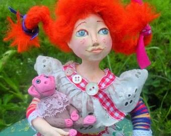 Art Doll handmade Pippi Longstocking with her monkey OOAK