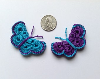 Crochet butterfly appliqué.          ( 2 butterflies )