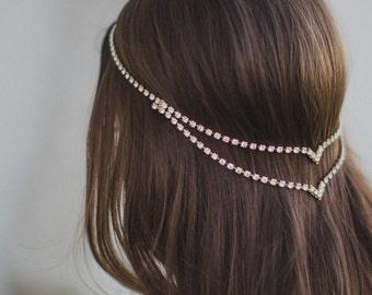 Halo Double V Headpiece Bohemian Unique Simple Bridal Circlet Boho Bride Draping Wedding Headband unusual head chain hair jewelry pins 223
