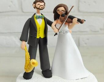 Musician Trumpeter Violinist custom wedding cake topper