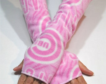 Chicago Cubs Pink White Fingerless Hand Arm Warmers Fleece