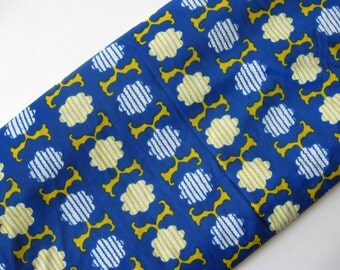 Cool mid century vintage Asian vibe slinky polyester wide fabric blue yellow white clouds waves 3 yards available