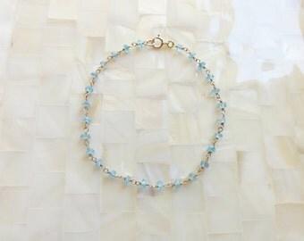 Faceted Blue Quartz Rondelle Vermeil Wire Wrapped Chain Bracelet (B1172)