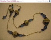 ON SALE Paper bead necklace- Recycled paper bead jewelry- Blue bicones