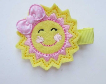 Pale Yellow Sunshine  Embroidered Hair Clip - Party favor - Feltie Clip - Sun Felt clip
