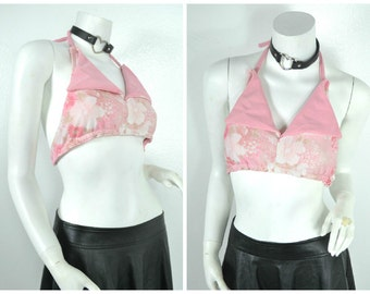 70s  pastel pink floral club kid disco backless halter bikini collar crop top