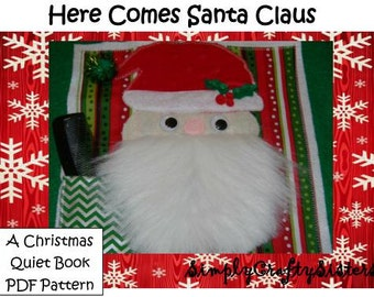 """Christmas Quiet Book- Felt Busy Book PDF Pattern- """"Here Comes Santa Claus"""""""