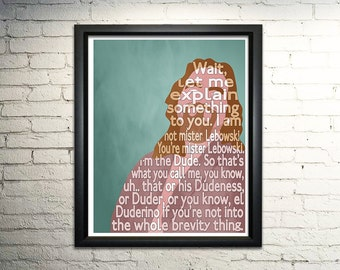 The Dude Big Lebowski Typography Poster