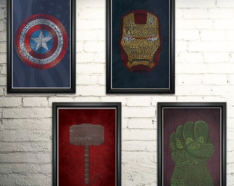 Avengers Word Art Print Four Set - 11x17""
