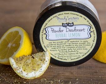Herbal Lemon Organic Deodorant Powder - Body Powder Deodorant All Natural Vegan Lemon Woods Organic Deodorant