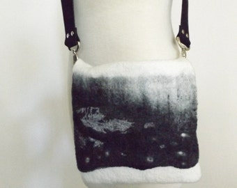 Wool nuno  felted purse, OOAK handmade Felt Nunofelt Nuno felt Silk Eco handmade shoulder bag Fiber Art black and white bag