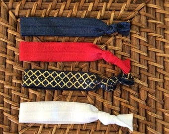 Knotted elastic hair ties - pony tail holder - blue, red, blue with gold, white
