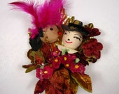 RESERVED for KP Thanksgiving Corsage Vintage Spun Cotton Pilgrim Native American Millinery Flowers Autumn Leaves Fall Colors